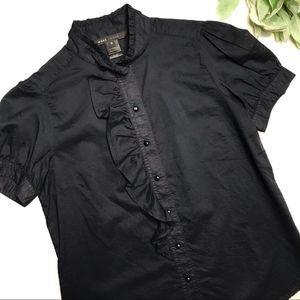 MARC JACOBS   sz 6 Navy short sleeve ruffle shirt